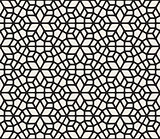 Vector Seamless Black and White Rounded Lace Ornamental Pattern