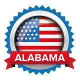 Alabama and USA flag badge vector