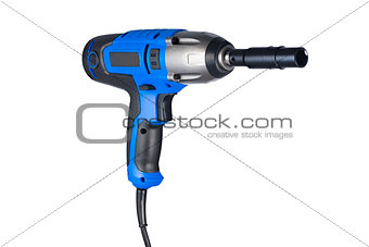 Blue impact gun with socket right view isolated on white