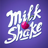 lettering milkshake sign with cherry - label for packing