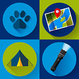 Camping Hiking icons set, flat design style vector