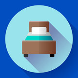 Hotel single room Bed icon flat style