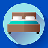 Hotel Double Bed icon flat style