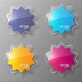 Glass stars set. Vector illustration.