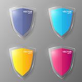 Set of glass shields. Vector illustration.