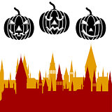Halloween pumpkin and castle tower. Vector illustration