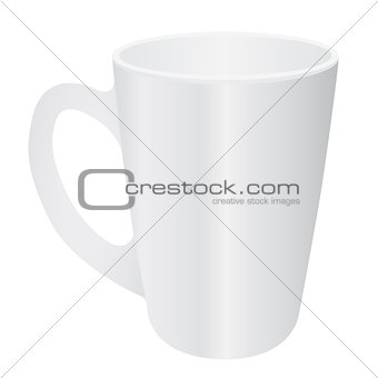 Cassic white cup on background. Vector illustration