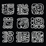 Maya glyphs, writing system and language vector design on black background