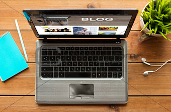 close up of laptop computer with blog on screen