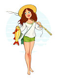 Beautiful fisher girl with fish and rod