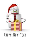 christmas robot with a gift