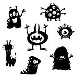 Cute monsters silhouettes