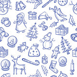 Christmas objects and elements seamless pattern