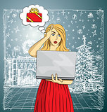 Vector woman buy Christmas gifts online