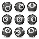 Set of billiard balls eights from different angles