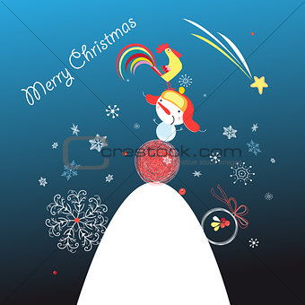 Greeting card with a snowman