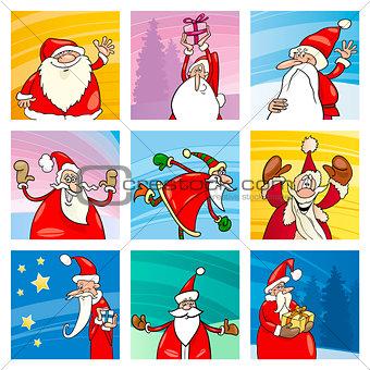 Christmas cartoon Santa elements set