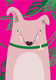 Bull Terrier in green leaves on a pink background