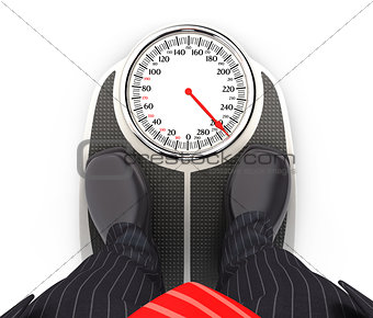 3d businessman on bathroom scales