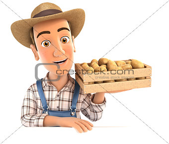 3d farmer holding wooden crate of potatoes