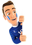 3d french soccer fan peeping over blank wall