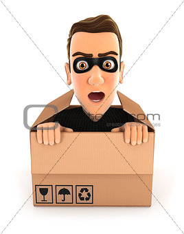 3d thief hiding inside a cardboard box