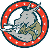 Army Sergeant Donkey Coffee Circle Cartoon