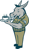 Donkey Sergeant Army Standing Drinking Coffee Cartoon