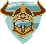 viking helmet on shield logo