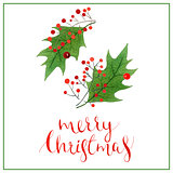 Christmas lettering, holiday calligraphy phrase isolated on white background, greeting card design.