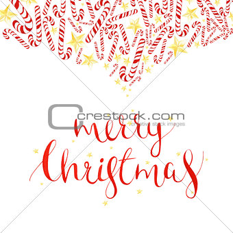 watercolor Christmas card with candy cane and holyday calligraphy phrase isolated on white background, greeting card design.