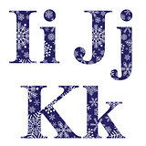 Uppercase and lowercase letters I and K