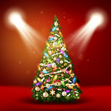 Christmas tree on red background. EPS 10