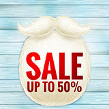 Christmas sale with beard Santa. EPS 10