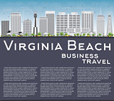 Virginia Beach (Virginia) Skyline with Gray Buildings and Copy S