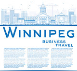 Outline Winnipeg Skyline with Blue Buildings and Copy Space.