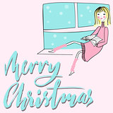 Girl sitting on the window-sil and read book on pink background. Merry Christmas lettering. EPS10
