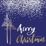 Christmas tree silhouette, design for greeting card. Vector hand drawn lettering for design. Gold Christmas lettering