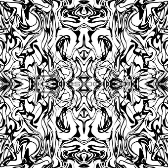Art abstract irregular web marble print template in black and white. Seamless pattern. Vector.