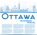 Outline Ottawa Skyline with Blue Buildings and Copy Space.