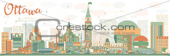 Abstract Ottawa Skyline with Color Buildings.