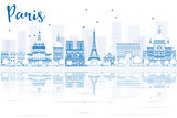 Outline Paris skyline with blue buildings and reflections.