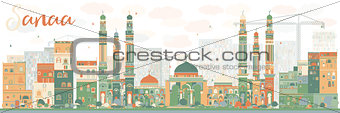 Abstract Sanaa (Yemen) Skyline with Color Buildings.