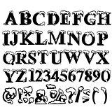 Christmas alphabet with snow. Vector illustration.