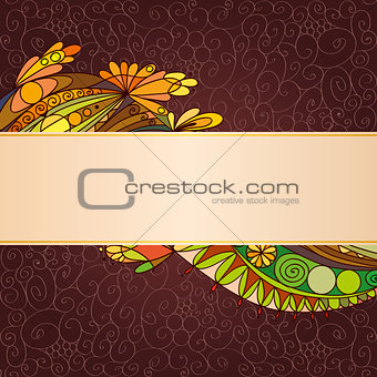 Greeting card. Floral elements