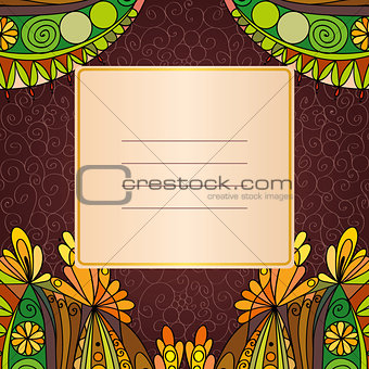 Greeting card. Floral elements in autumn colors