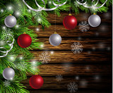 Christmas New Year design wooden background