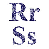 Uppercase and lowercase letters R and S