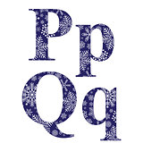 Uppercase and lowercase letters P and Q