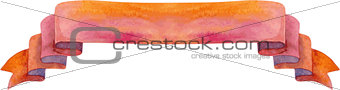 Watercolor red banner
